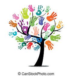 Árbol vector con huellas de manos coloridas