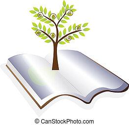 árbol, vector, libro abierto, logotipo