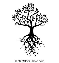 Árbol vector negro y raíces
