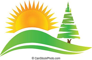 Árbol verde - colinas y logotipo solar