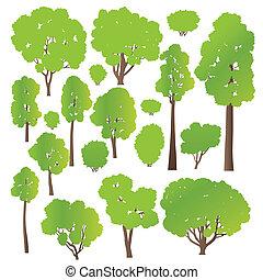 Árbol y arbustos establecen vector ecológico concepto de fondo