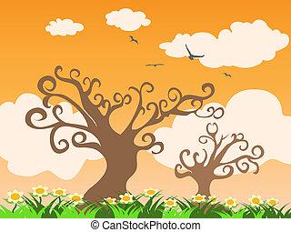 Árbol y hierba al atardecer