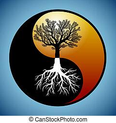 Árbol y raíces en el símbolo del yin yang