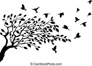 Árbol y silueta de pájaro
