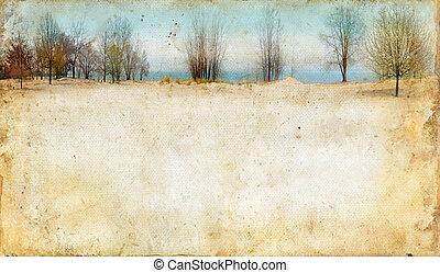 Árboles a lo largo de un lago sobre fondo grunge