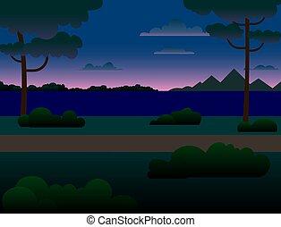 árboles, bosque, river., montañas, río, noche, a través de, paisaje