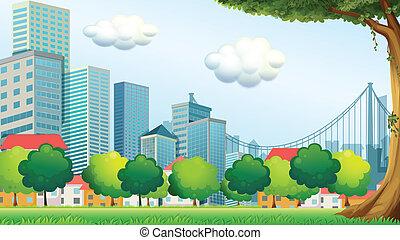 Árboles cerca de los edificios altos
