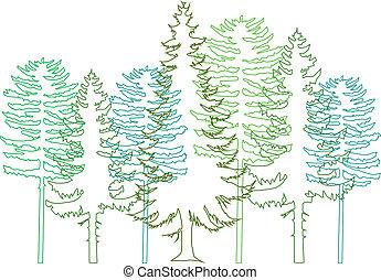 árboles de abeto, vector