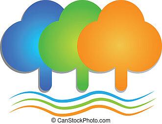 Árboles de colores y logotipo de olas