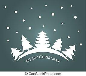 Árboles de Navidad paisaje nocturno de bosques invernal