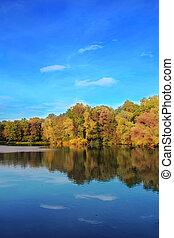 Árboles de otoño reflejados en el lago