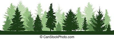 Árboles de pino, abeto, abeto, árbol de Navidad. Bosque conífero, vector silueta. Bosque Evergreen, vector