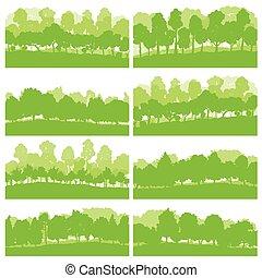 Árboles del bosque y arbustos naturaleza salvaje siluetas paisaje ilustraciones vector de fondo vector de origen establece el concepto ecológico verde