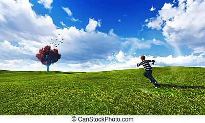 Árboles en un prado con cielo azul