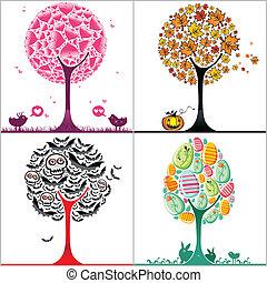 Árboles estilizados coloridos