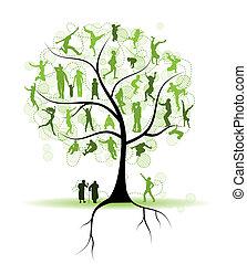 Árboles familiares, parientes, gente siluetas