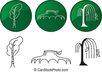 Árboles. iconos del vector listos.