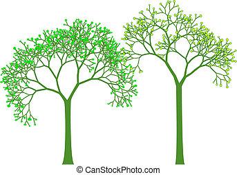 Árboles primaverales, vector