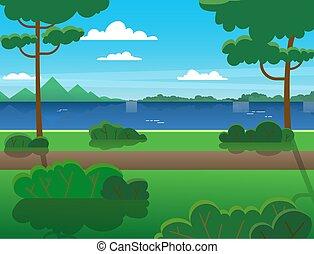 árboles, verano, a través de, bosque, river., montañas, río, al aire libre, recreation., paisaje