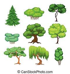 árboles, verde, tronco, conjunto, vector, follaje, exuberante