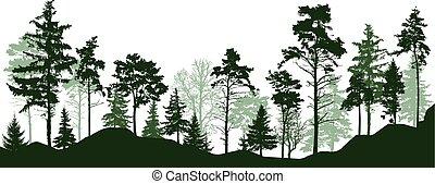 Árboles verdes de la silueta del bosque. Bosque conífero siempre verde, parque, callejón. Ilustración de vectores
