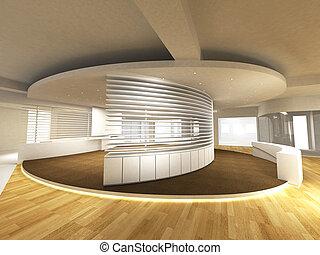 Área de oficina con mostrador de recepción