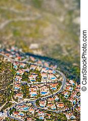área residencial, inclinación, efecto, lente, cambio
