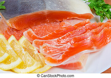 ártico, carbonice, plato, salado, cortar, primer plano, en parte