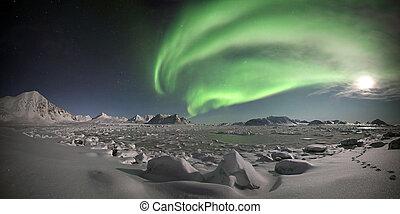 ártico, -, luces, paisaje, norteño