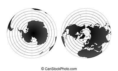 Ártico y polos antárticos hemisferios de globos. Vista del mapa del mundo desde el espacio aislada en blanco