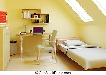 ático, o, dormitorio, desván