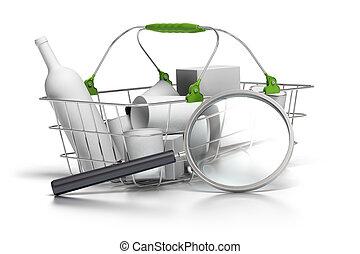 él, concepto, cesta, consumo, promedio, lupa, frente, analista