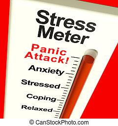 énfasis, actuación, pánico, metro, ataque, o, preocupación