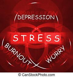 énfasis, ansiedad, fundición, depresión, preocupación, exhibiciones