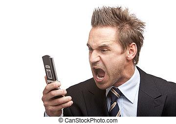 énfasis, hombre de negocios, móvil, tiene, teléfono, sreams