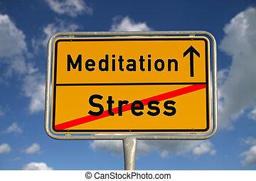 énfasis, meditación, muestra del camino, alemán