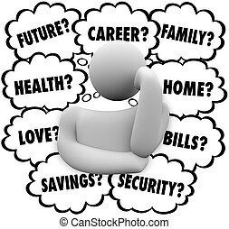 énfasis, nubes, factores, pensamiento, pensamiento, persona