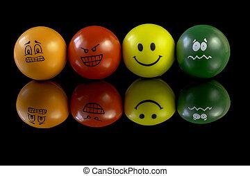 énfasis, pelotas, tener, personalidad