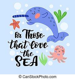 ésos, mar, amor, lindo, conjunto, narwhal, -
