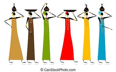 étnico, jarras, mujeres