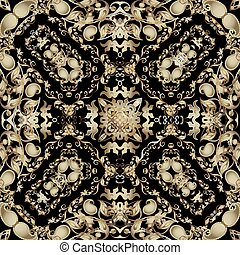 étnico, shapes., decorativo, tribal, pattern., diseño, floral, oro, estilo, ornamental, repetición, cachemira, vector, ornamento, telón de fondo., hojas, fondo., seamless, oriental, florido, hermoso, vendimia, flores