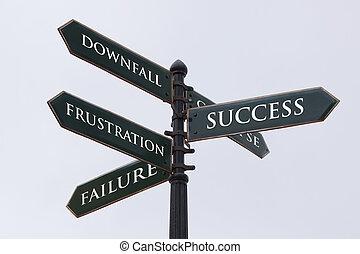 éxito, caída, señal, fracaso, frustración, direcciones, camino