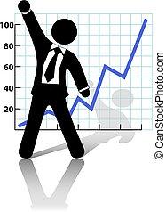 éxito, crecimiento de la corporación mercantil, aumentos, puño, hombre de negocios, celebrar