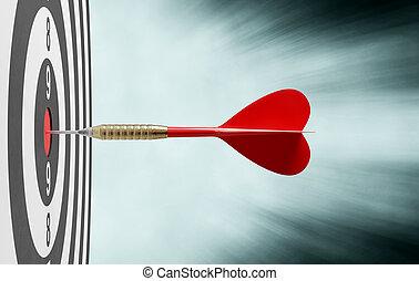 éxito, dardo, centro, rojo, concepto, blanco, golpear