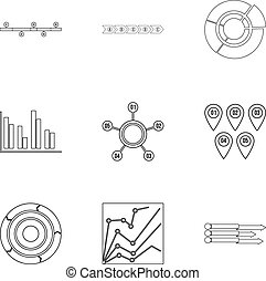 Éxito en iconos de negocios establecidos, estilo de esquema