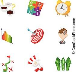 Éxito en iconos de negocios, estilo de dibujos animados