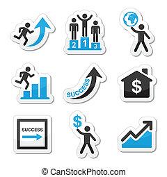 Éxito en iconos de negocios