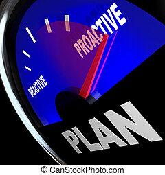 éxito, estrategia, reactivo, contra, calibrador, plan, proactive