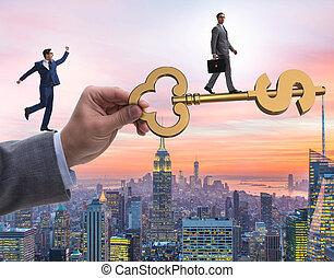 éxito financiero, prosperidad, concepto, llave