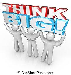 éxito, gente, grande, juntos, levantamiento, palabras, equipo, pensar